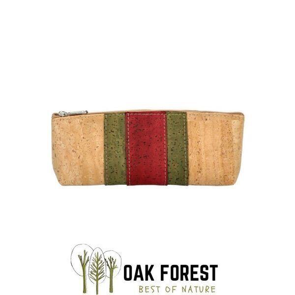 OAK Forest - Trousse en liège Vegan bande centrale - Pochette liège Kaki