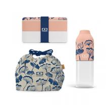 monbento - Pack bento MB Original, bouteille et sac Graphic Ginkgo
