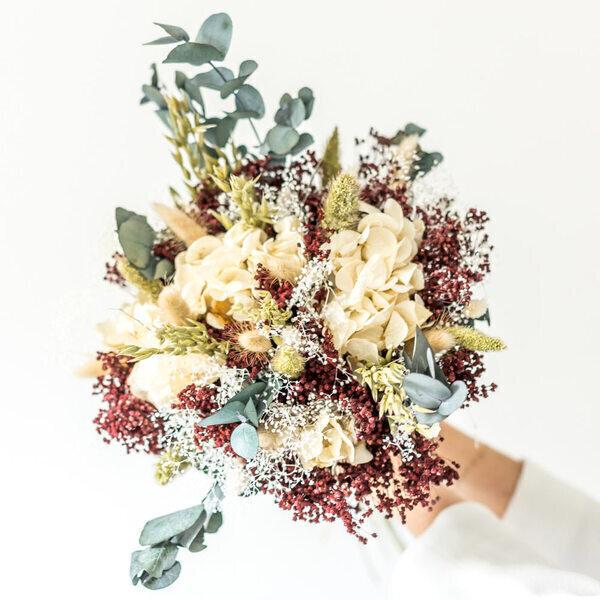 Réconciliation Végétale - Bouquet de fleurs séchées hortensia beige et broom rouge