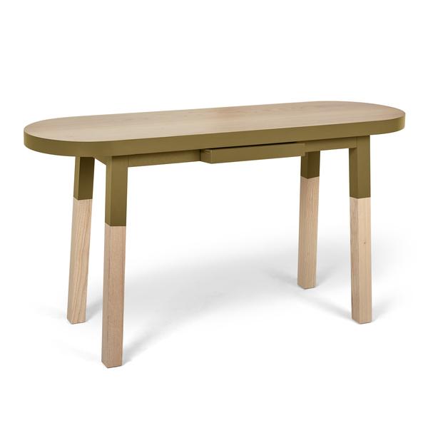 Mon petit meuble français - Console ovale 100% frêne massif 140x45 cm