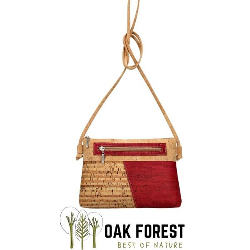 "OAK Forest - Sac bandoulière vegan artisanal en liège ""Duo Bordeaux"""