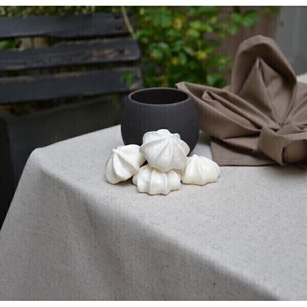 Fleur de Soleil - Nappe enduite Unie lin/coton - ronde diam 160cm