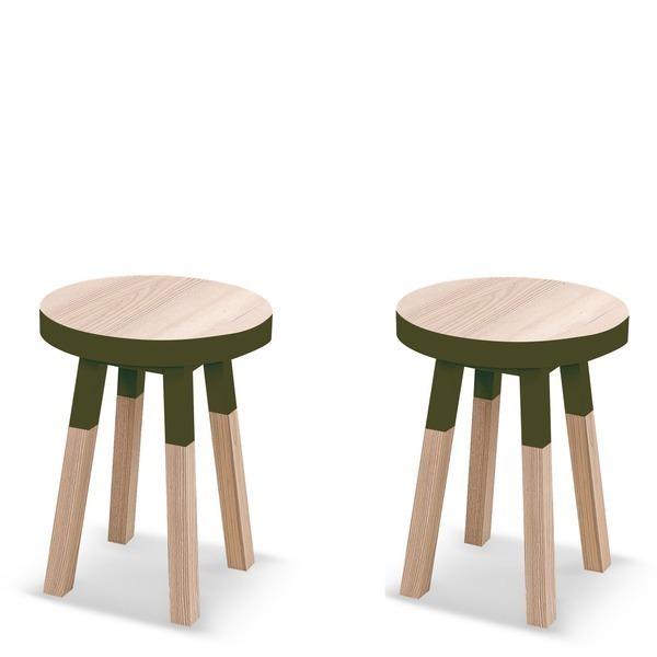 Mon petit meuble français - Lot de 2 tabourets frêne massif 35x35 cm