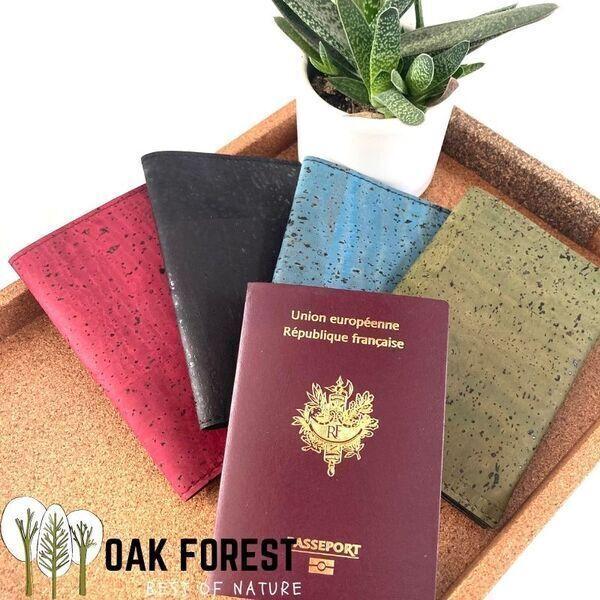 OAK Forest - Etui Passeport liege rouge - Protection passeport Vegan