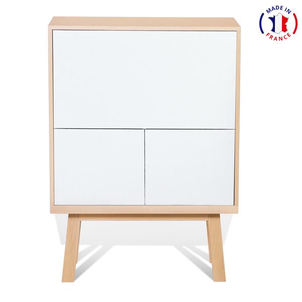Mon petit meuble français - Bureau secrétaire avec rangement en frêne 90x46 cm