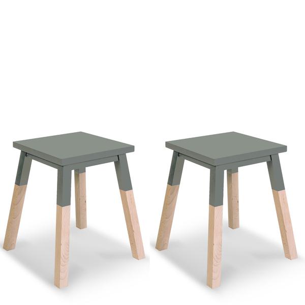 Mon petit meuble français - 2 tabourets laqués en frêne 40x40 cm