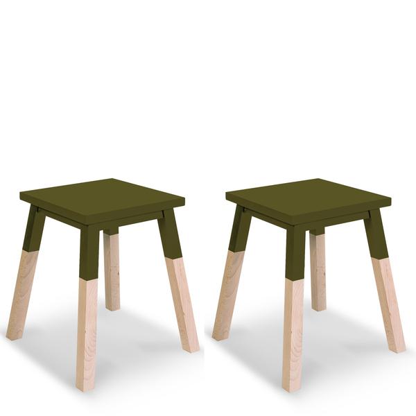 Mon petit meuble français - 2 tabourets laqués en frêne 35x35 cm