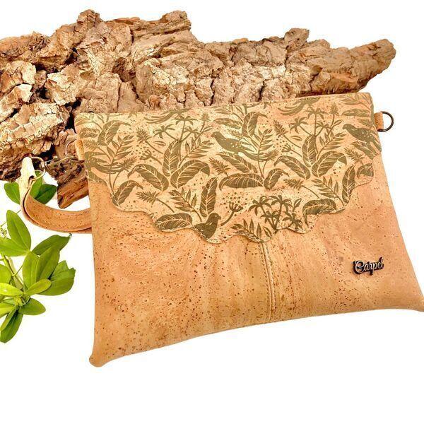 """OAK Forest - Pochette Vegan - Trousse en liege artisanal """"Rojo Azules"""""""