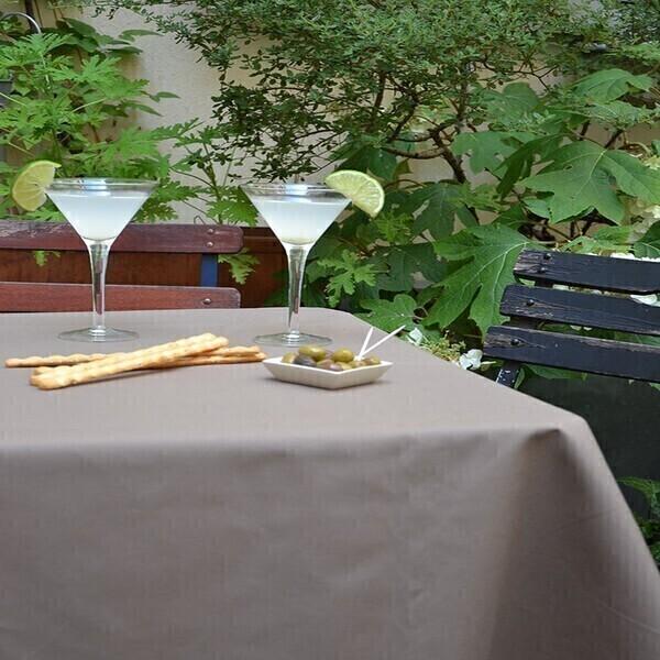 Fleur de Soleil - Nappe enduite Unie taupe - ronde diam 160cm