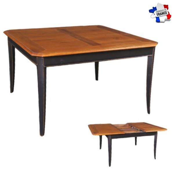 Gontier - Table carrée en merisier massif - 1 rallonge