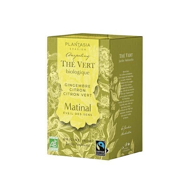 PLANTASIA - Matinal Thé Vert Bio - 18 sachets