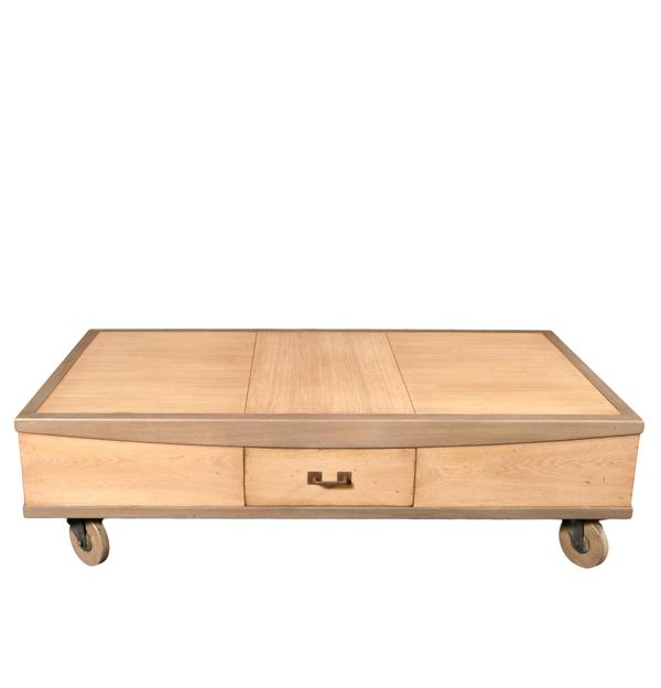 Gontier - Table de salon à roulettes en chêne 100% Fabrication Française