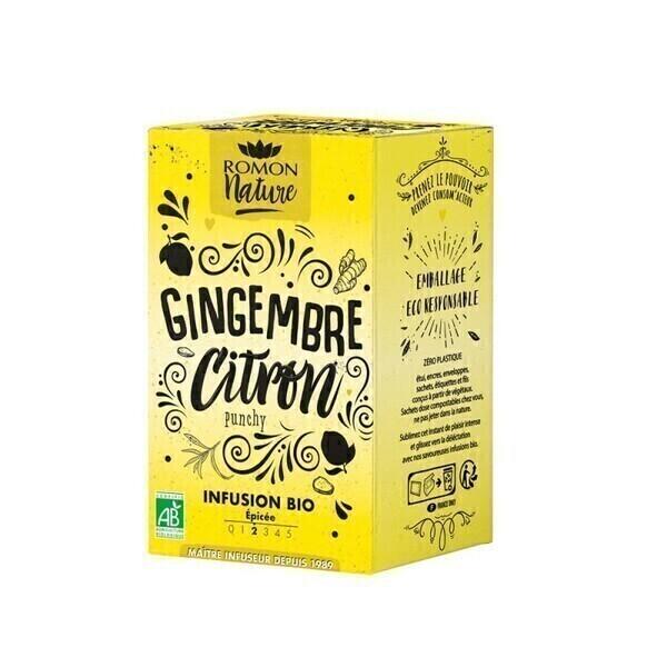 Romon Nature - Infusion Gingembre Citron bio - 16 sachets