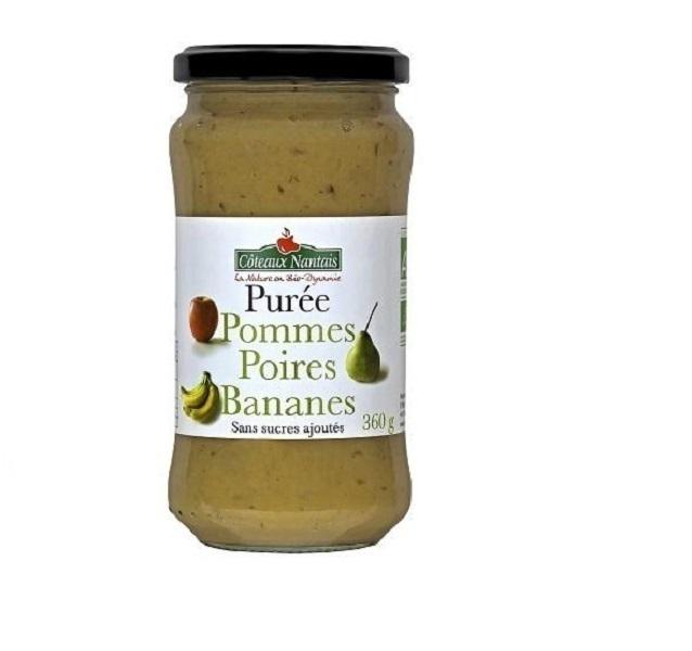 Côteaux Nantais - Purée de Pommes Poires Bananes Bio - 360 g