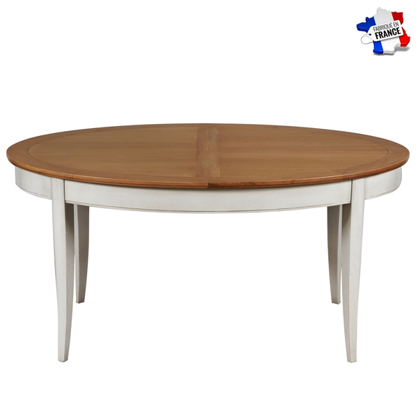 Gontier - Table ovale extensible, chêne massif 100% Fabrication Française