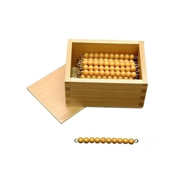 MontessoriSamuserAutrement - 45 barres de 10 perles dorees + boite