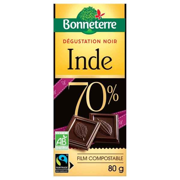 Bonneterre - Tablette chocolat noir 70% d'Inde 80g