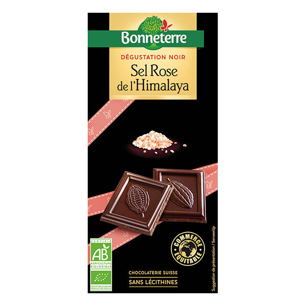 Bonneterre - Tablette chocolat noir et sel rose de l'Himalaya 80g