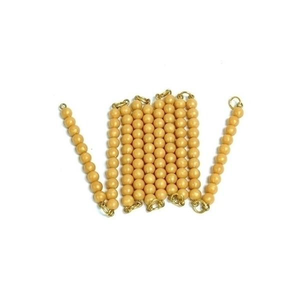 MontessoriSamuserAutrement - Chaine de 100 perles dorées