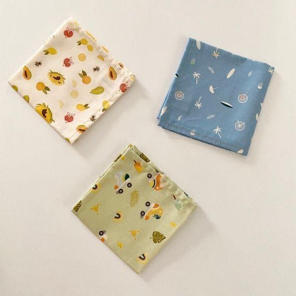 ernest&lulu - Lot de 3 mouchoirs en tissu bio - collection madeleine&raymond