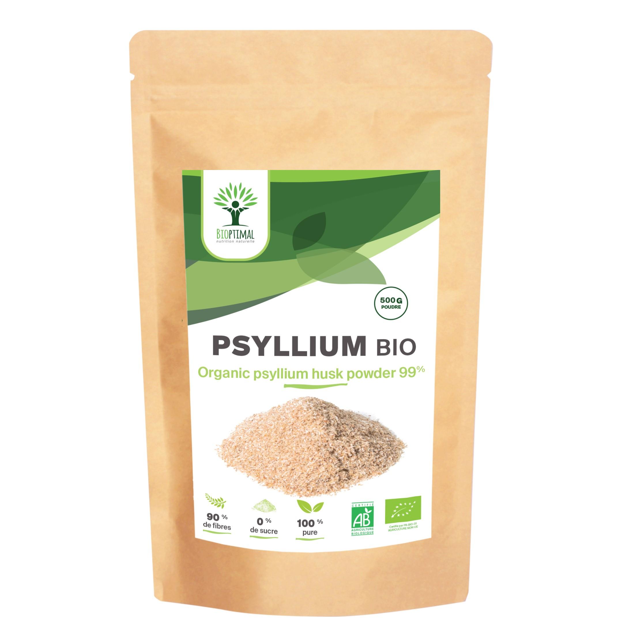 Bioptimal - Psyllium Blond Bio en Poudre - Fibres Transit Coupe Faim - 500g