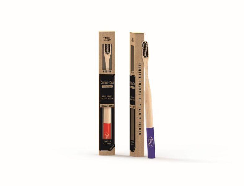 Dentismile - Brosse à dents en bambou, poils infusés au charbon MÉDIUM rouge