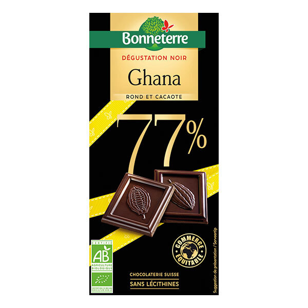 Bonneterre - Tablette chocolat noir 77% du Ghana 80g