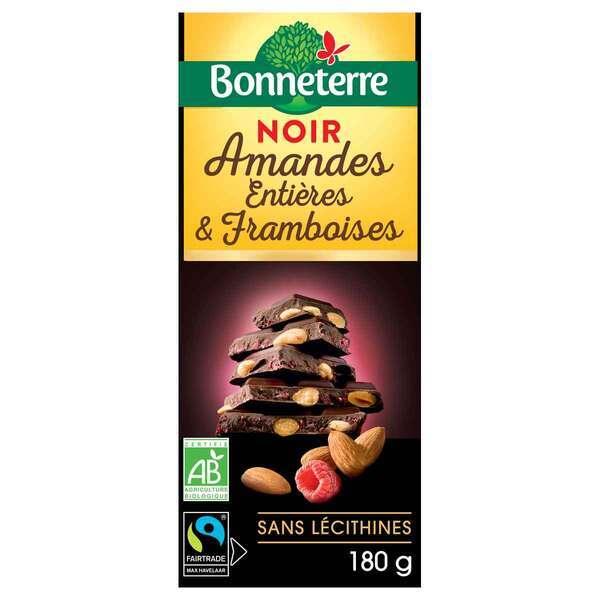 Bonneterre - Tablette chocolat noir amandes et framboises 100g