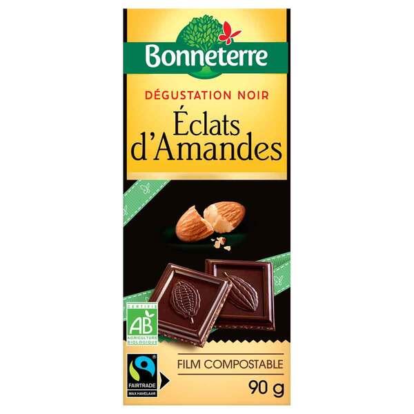 Bonneterre - Tablette chocolat noir et éclats d'amandes 90g