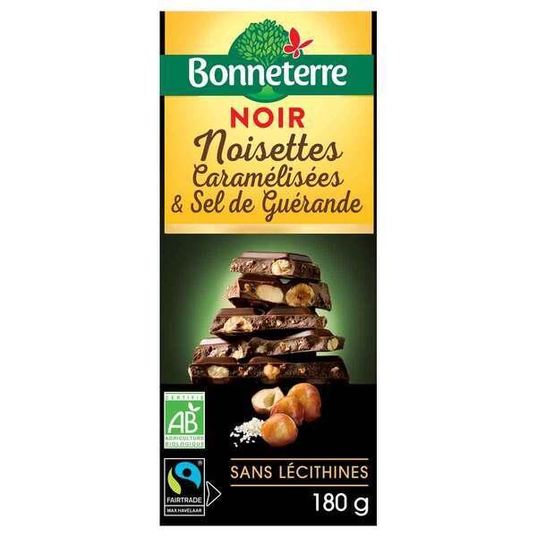 Bonneterre - Tablette chocolat noir noisettes caramélisées et sel 100g
