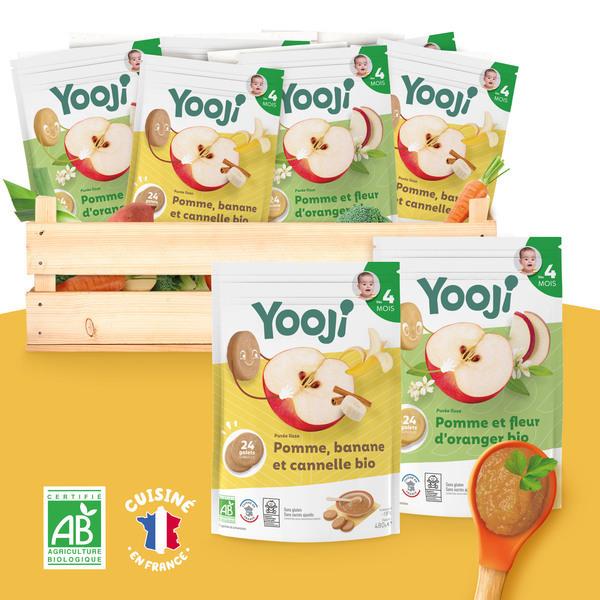 Yooji - Purées lisses de fruits BIO - 2 recettes - dès 4 mois