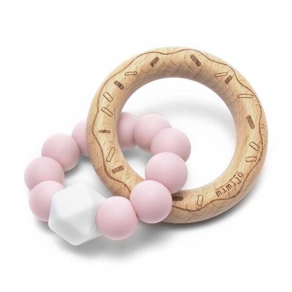 Aba factory - Hochet en bois avec anneau de dentition en silicone Rose