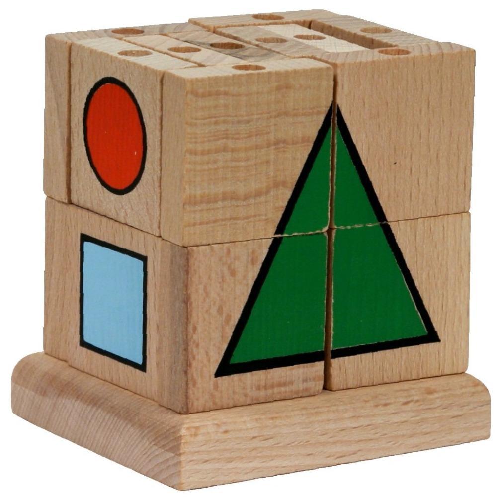 Mik toys - Cube d'apprentissage en bois - Cube à forme géométrique