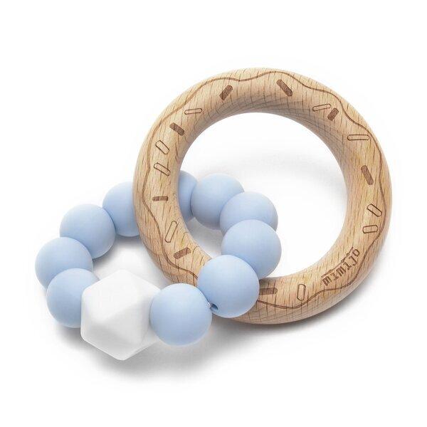 Aba factory - Hochet en bois avec anneau de dentition en silicone Bleu