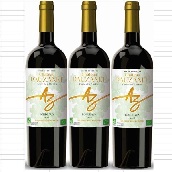 Vinaccus - bordeaux rouge bio, châteaux d'Auzanet 2018 lot de 3 bouteilles