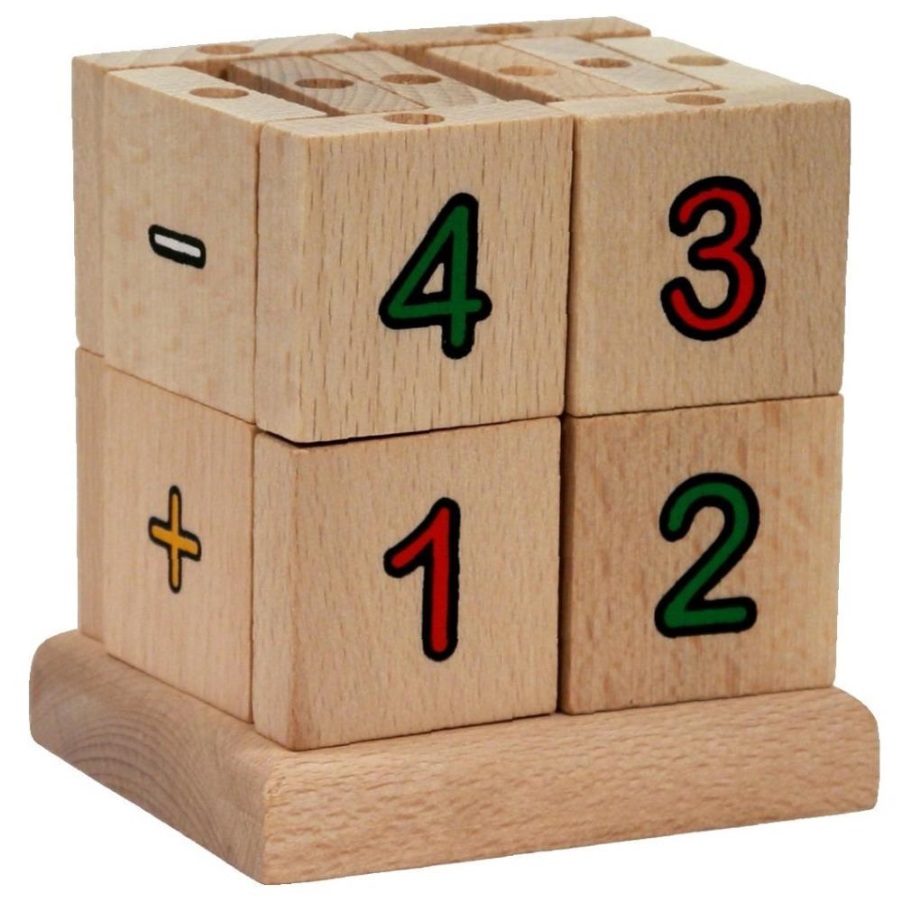 Mik toys - Cube d'apprentissage en bois - Mathématiques