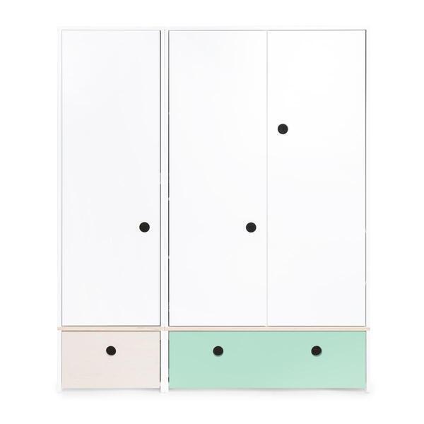 Wookids - Armoire 3 portes COLORFLEX façades tiroirs white wash-mint