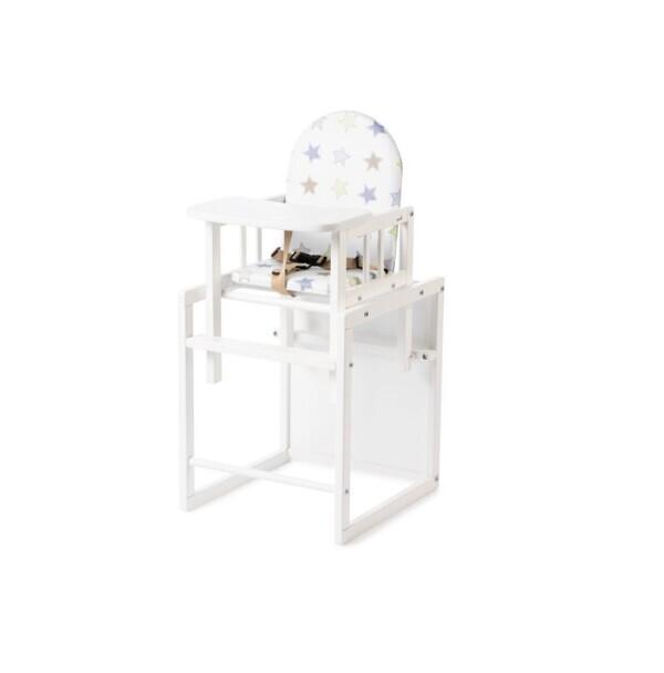 Geuther - Chaise haute combinée Nico blanche étoiles en bois