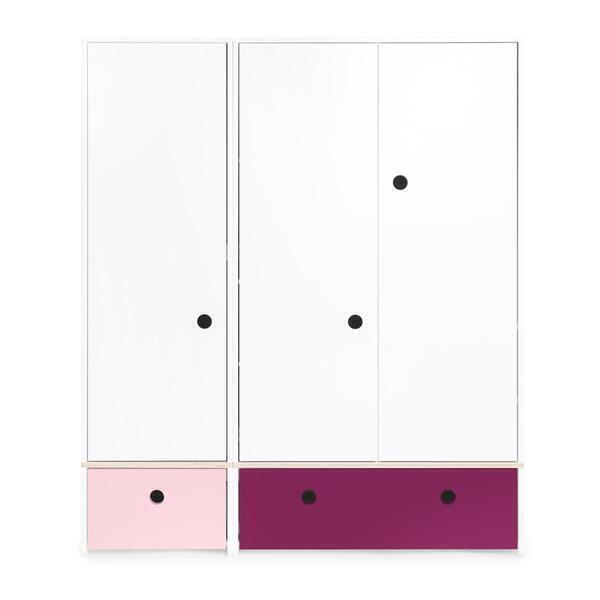 Wookids - Armoire 3 portes COLORFLEX façades tiroirs sweet pink-plum