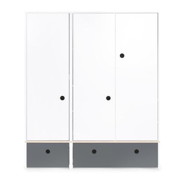 Wookids - Armoire 3 portes COLORFLEX façades tiroirs space grey