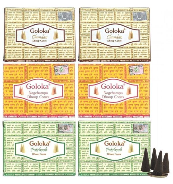 "Goloka - Assortiment d'encens ""Top 3 Goloka"" 60 cônes / 3 parfums"