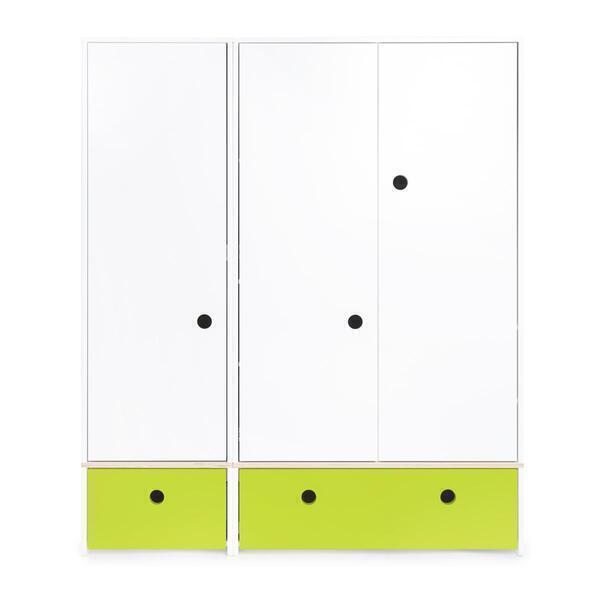 Wookids - Armoire 3 portes COLORFLEX façades tiroirs lime