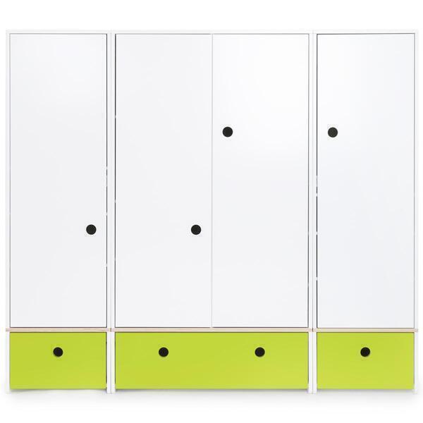 Wookids - Armoire 4 portes COLORFLEX façades tiroirs lime