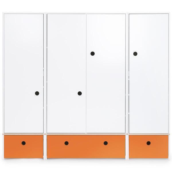 Wookids - Armoire 4 portes COLORFLEX façades tiroirs pure orange
