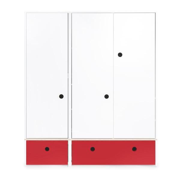 Wookids - Armoire 3 portes COLORFLEX façades tiroirs true red