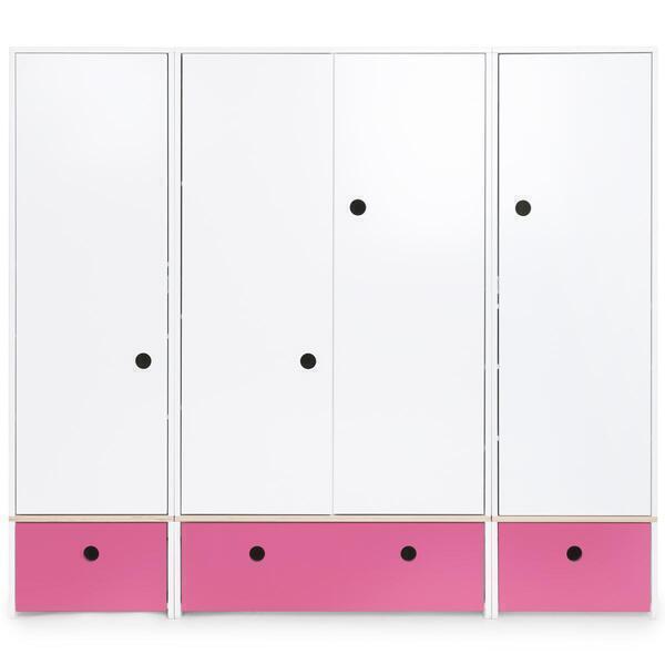 Wookids - Armoire 4 portes COLORFLEX façades tiroirs pink