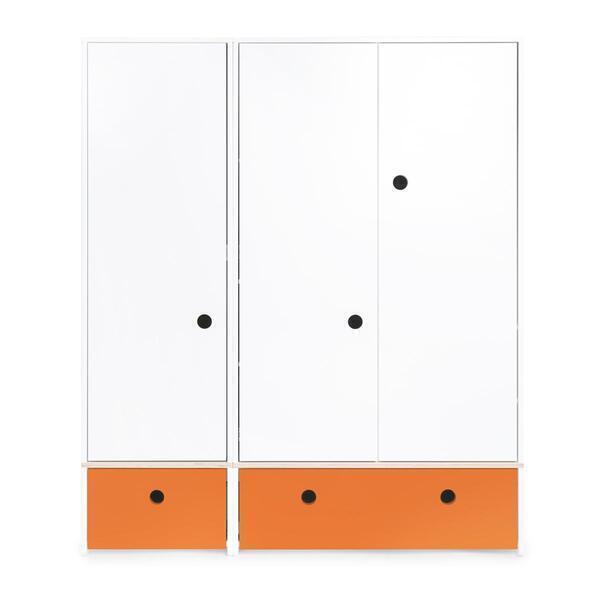 Wookids - Armoire 3 portes COLORFLEX façades tiroirs pure orange