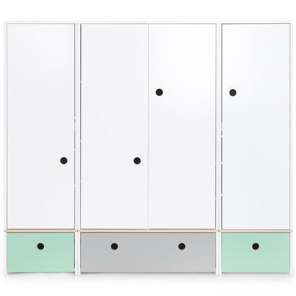 Wookids - Armoire 4 portes COLORFLEX façades tiroirs mint-pearl grey-mint