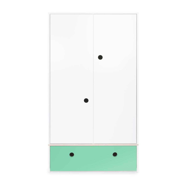 Wookids - Armoire 2 portes COLORFLEX façade tiroir sea foam