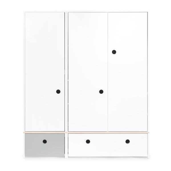 Wookids - Armoire 3 portes COLORFLEX façades tiroirs pearl grey-white